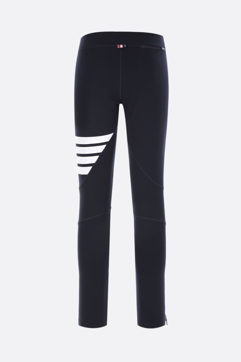 THOM BROWNE: 4-bar-detailed technical fabric leggings Color Blue_2