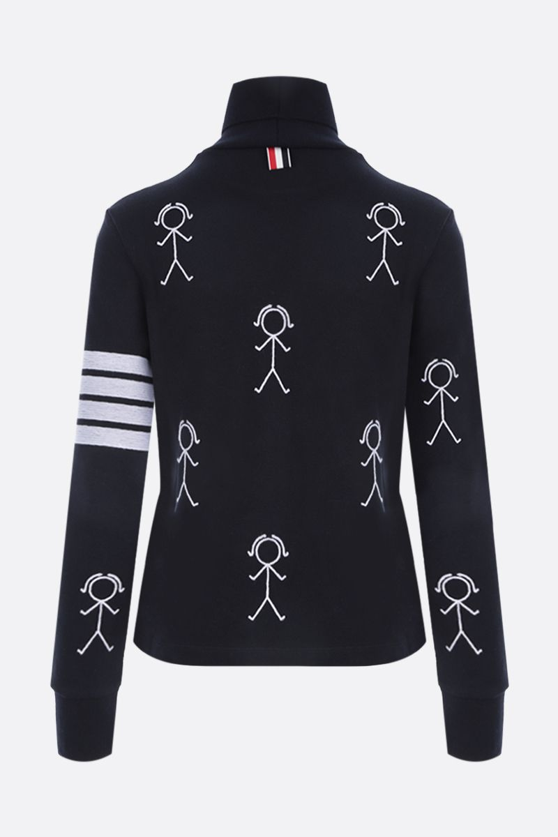 THOM BROWNE: Mrs. Thom Icon embroidered cotton turtleneck Color Blue_2