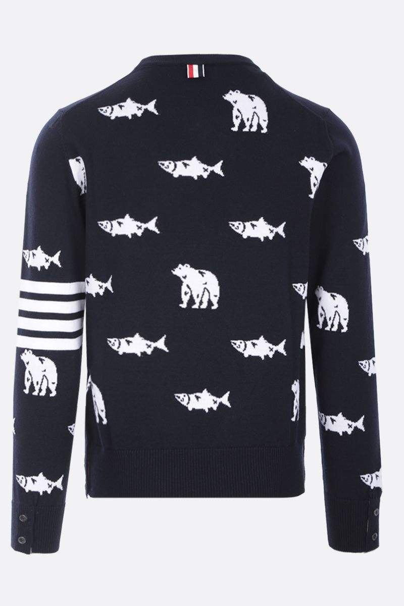 THOM BROWNE: pullover Bear and Salmon in lana merino Colore Blue_2