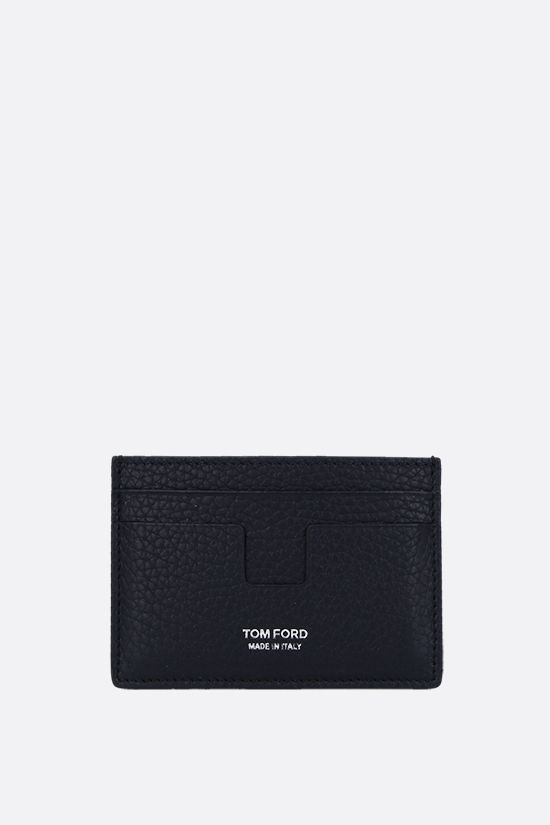 TOM FORD: T Line grainy leather card case Color Blue_1