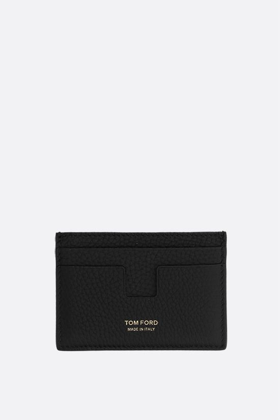 TOM FORD: T Line grainy leather card case Color Black_1