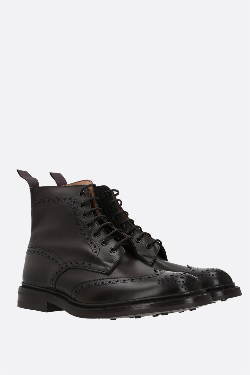 TRICKER'S: Stow shiny leather combat boots Color Brown_2