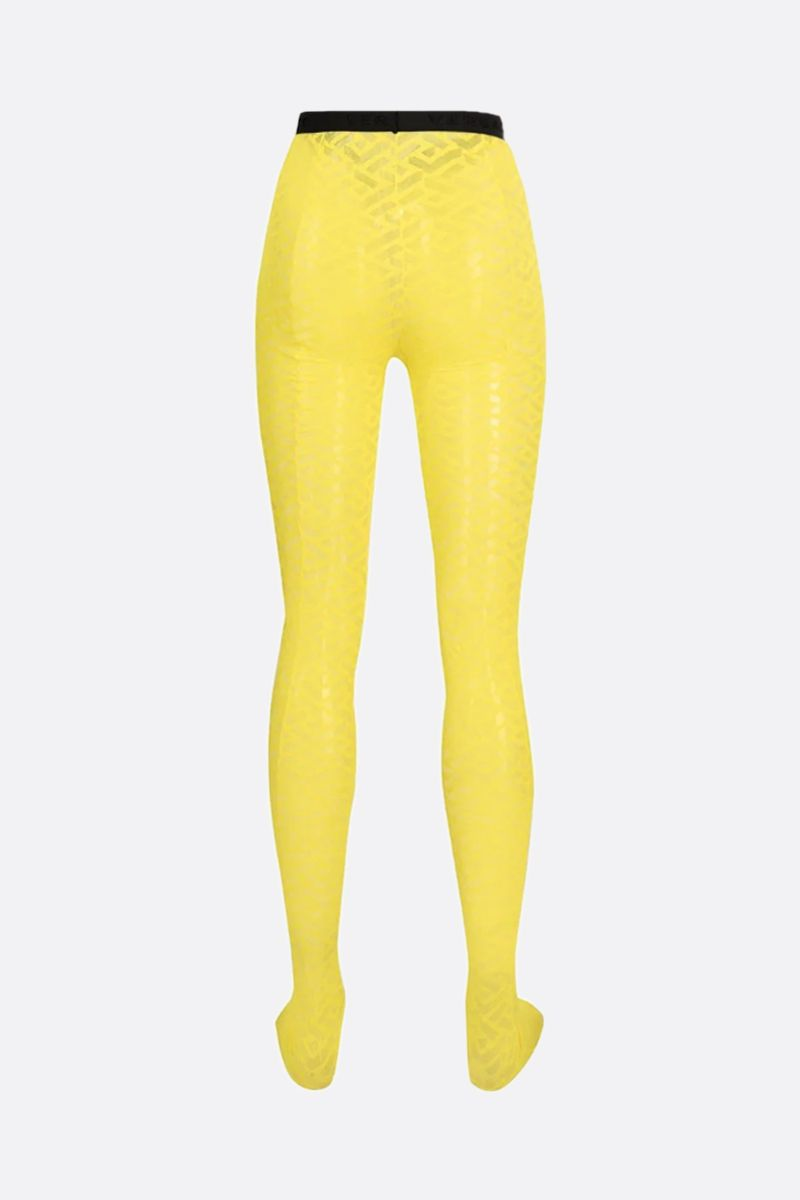 VERSACE: Greca Signature print tulle tights Color Yellow_2