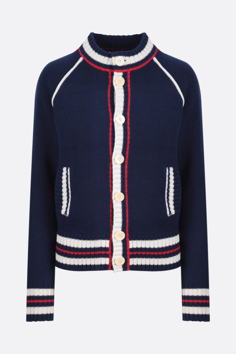 WALES BONNER: cardigan Artist in lana e cashmere a righe Colore Blue_1