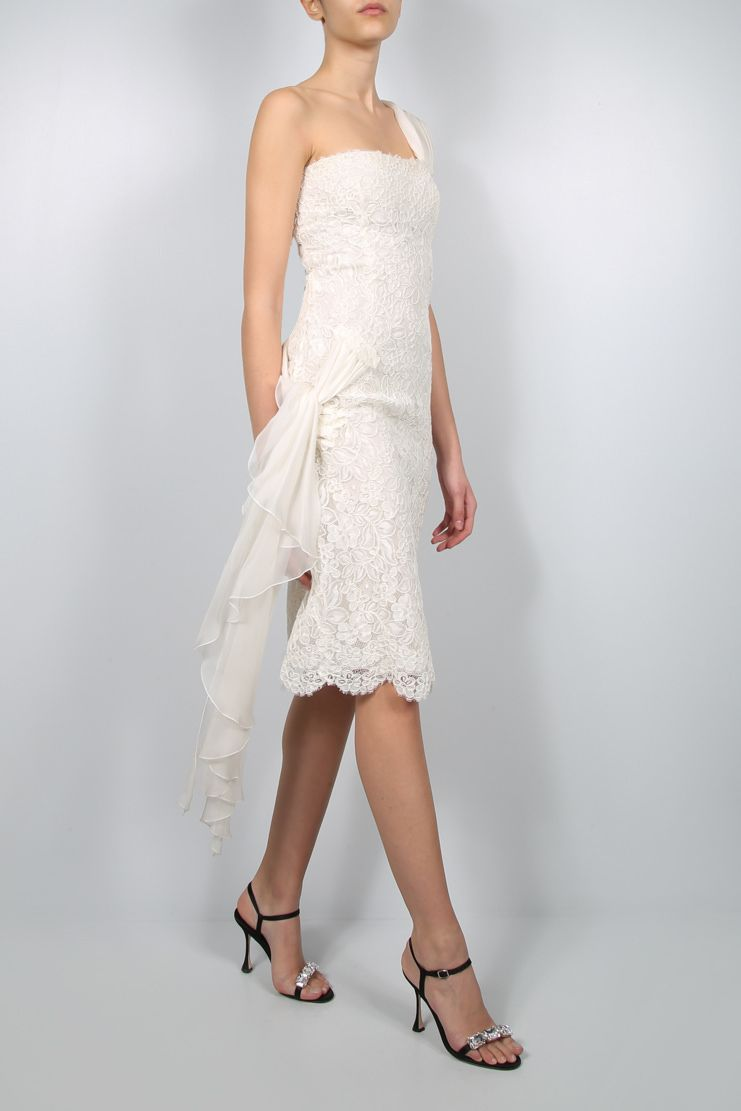 VALENTINO: floral lace one-shoulder dress Color White_2