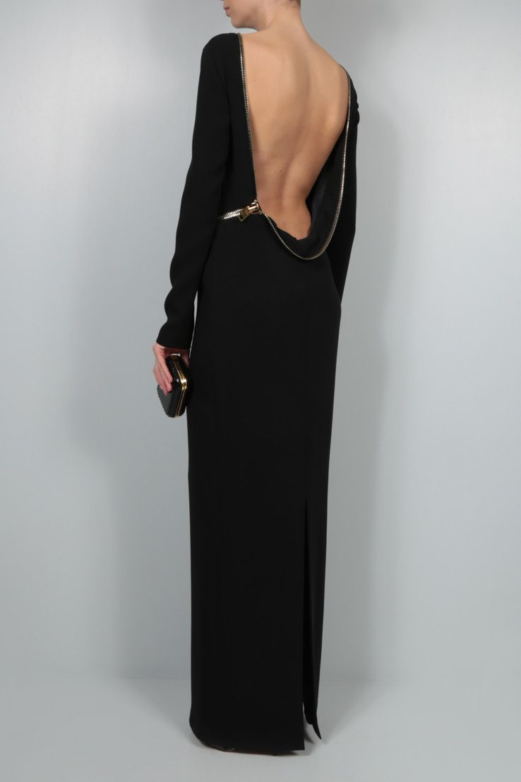 TOM FORD: oversize zip-detailed crepe evening gown Color Black_2