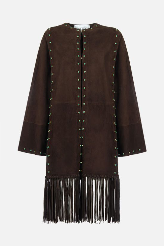 VALENTINO: jewel embellished fringed suede coat Color Brown_1