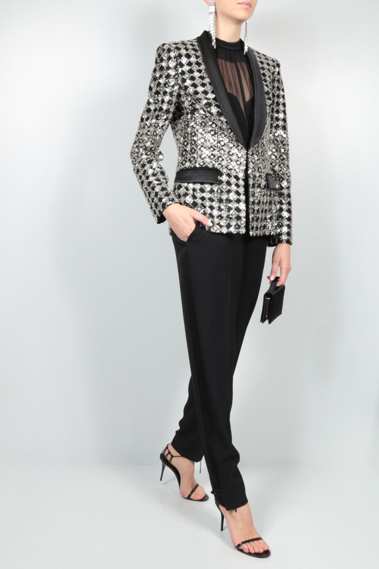 ZUHAIR MURAD: sequin and crystal-embroidered jacket Color Black_2