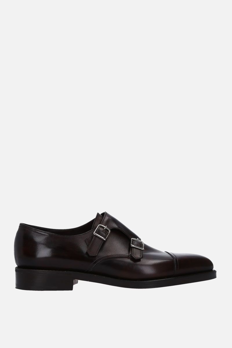 JOHN LOBB: William monk strap shoes in Museum leather Color Brown_1