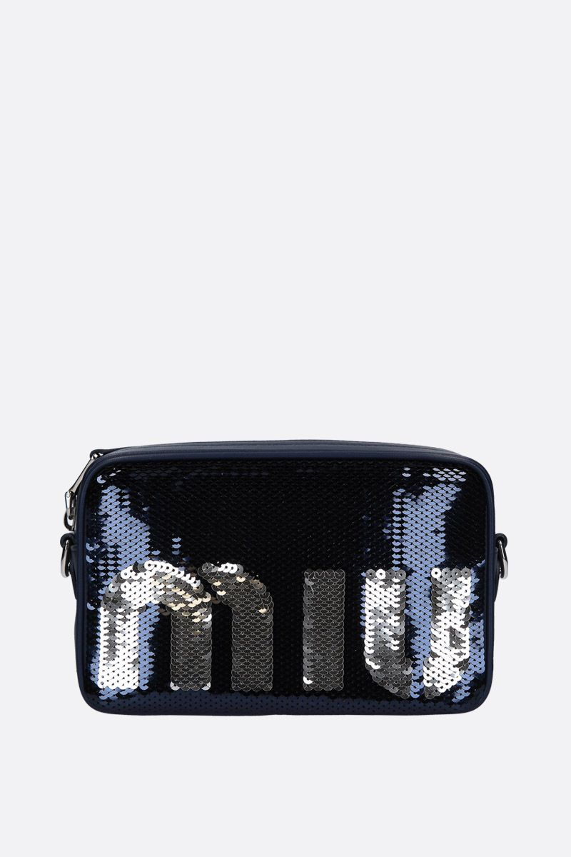 MIU MIU: sequinned crossbody bag Color Blue_1
