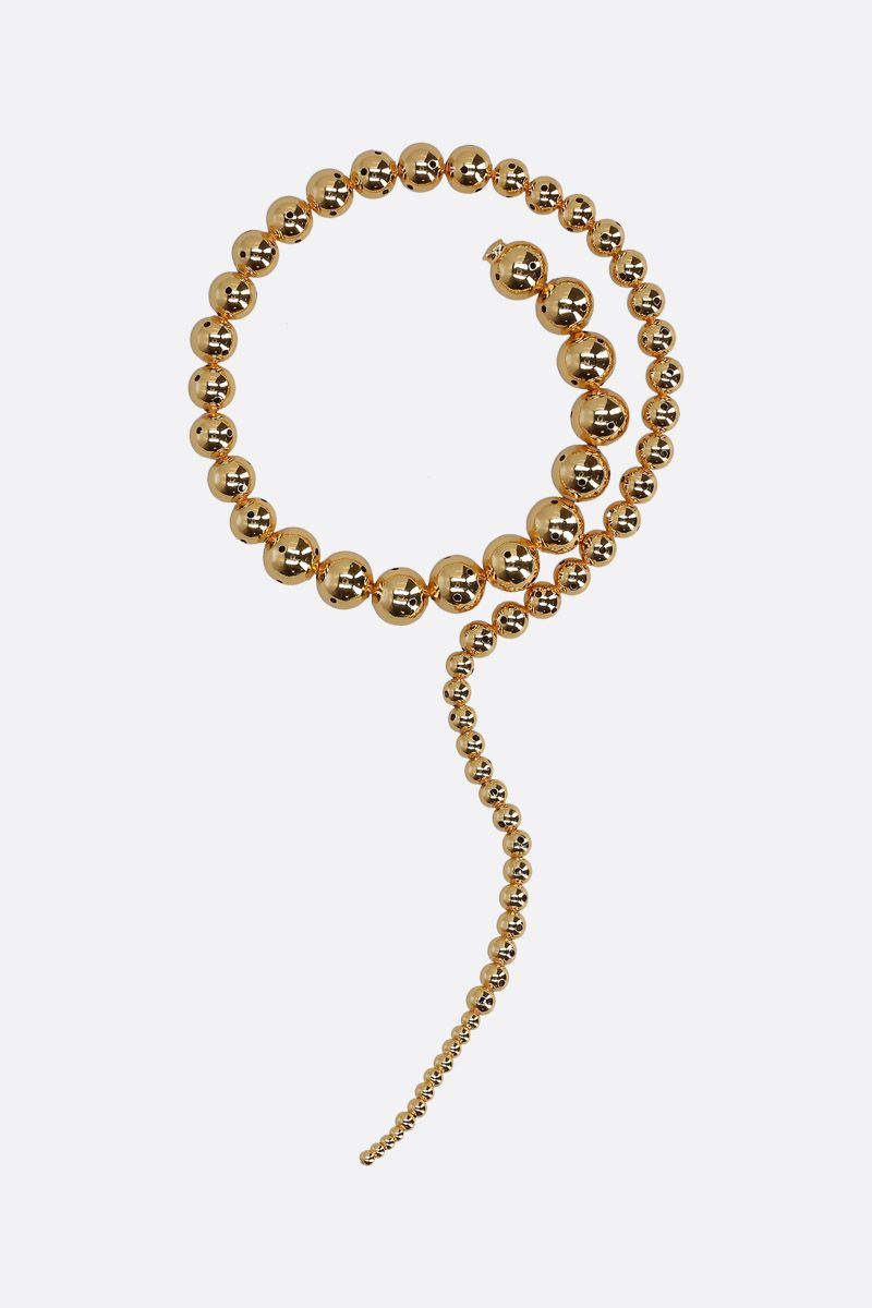 PAULA MENDOZA: Glaucus gold pleated brass necklace Color Gold_1