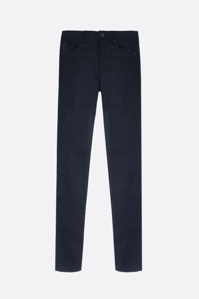SAINT LAURENT: jeans skinny a vita media Colore Nero_1