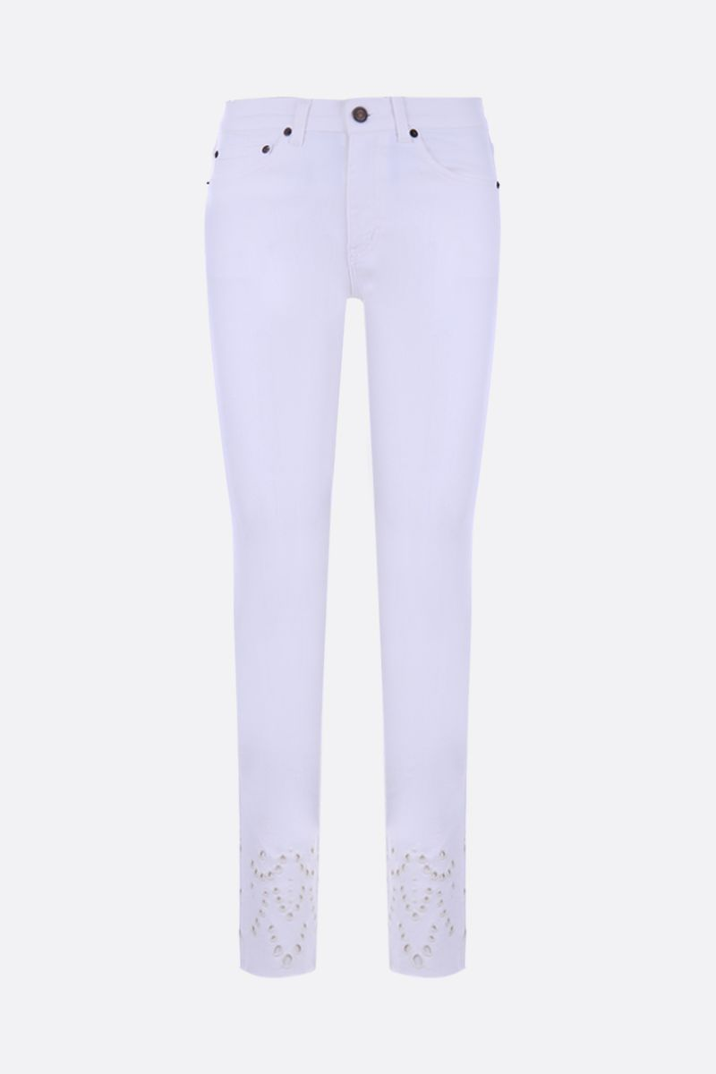 SAINT LAURENT: skinny jeans with embroidered detail_1