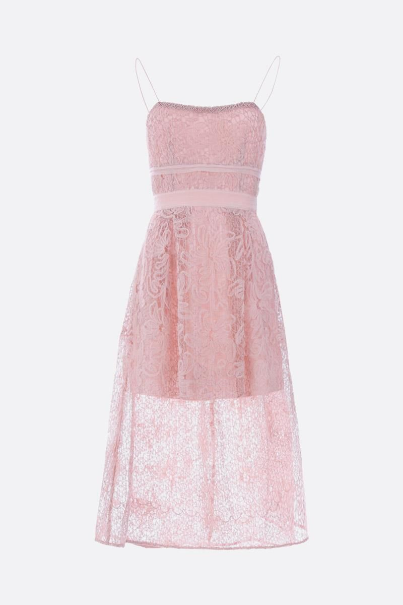SELF PORTRAIT: Mesh lace midi dress Color Pink_1