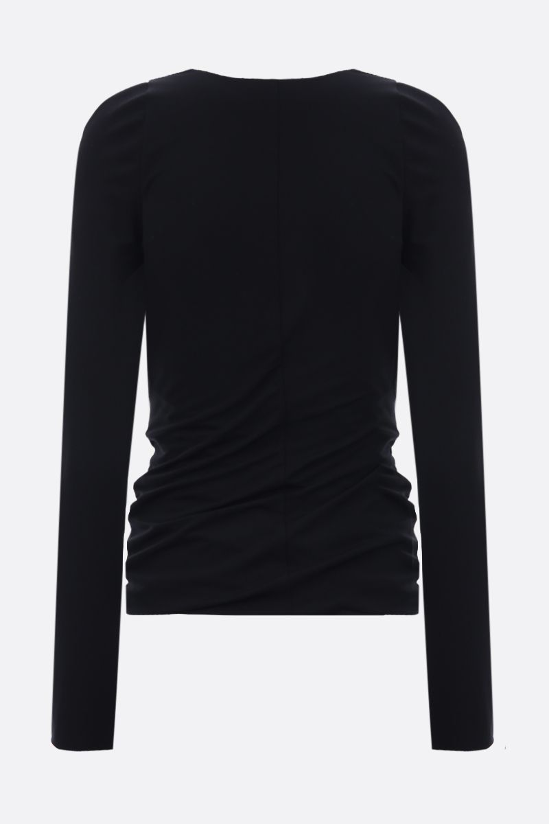 TOM FORD: jersey top with draped hem Color Black_2