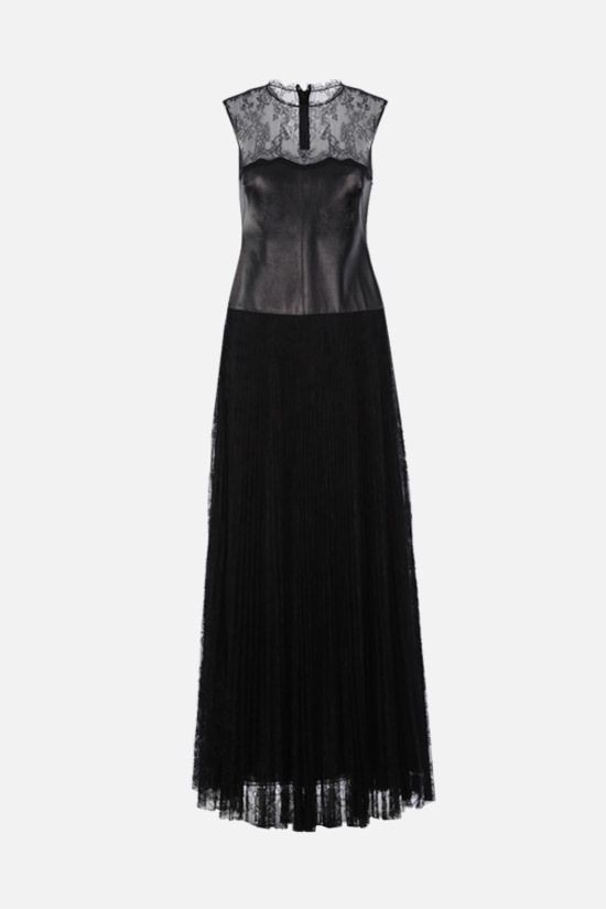 VALENTINO: lace and nappa evening gown Color Black_1