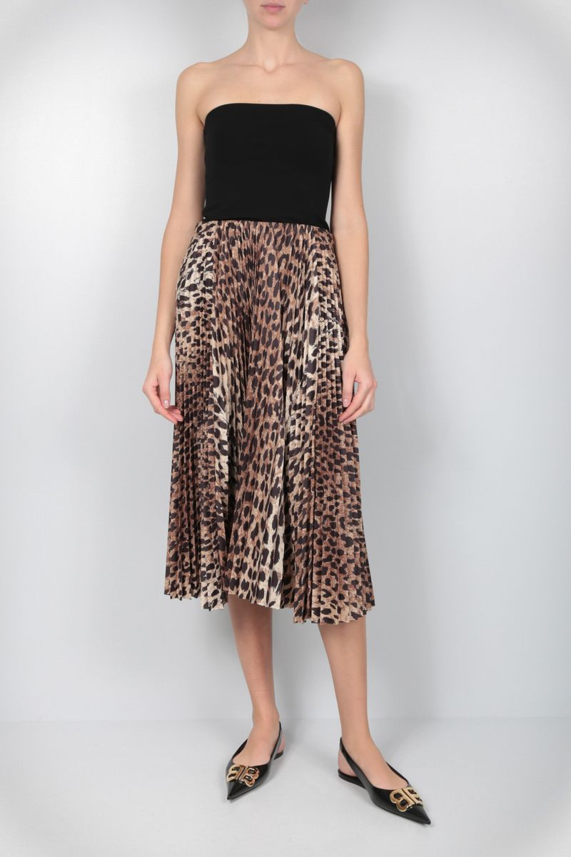BALENCIAGA: leopard print nylon pleated skirt Color Neutral_2