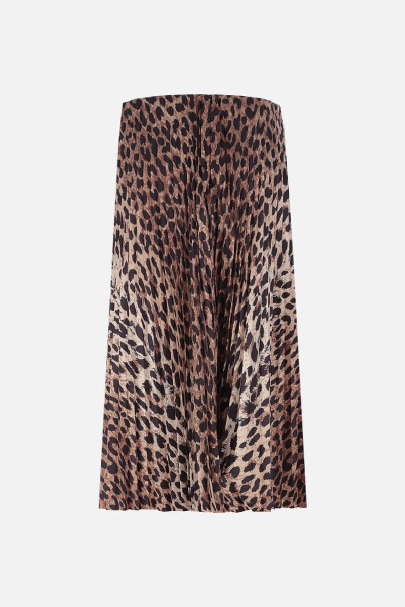 BALENCIAGA: leopard print nylon pleated skirt Color Neutral_3