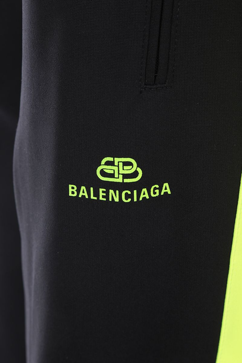 BALENCIAGA: jersey joggers with contrasting bands Color Black_4