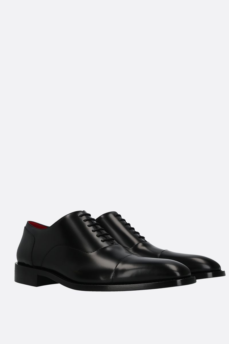 BALENCIAGA: brushed leather oxford shoes Color Black_2