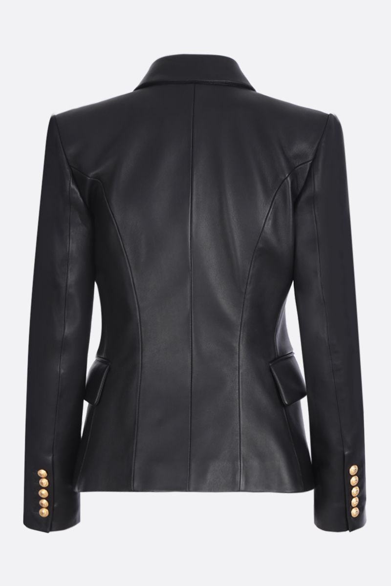 BALMAIN: nappa leather single-breasted jacket Color Black_2