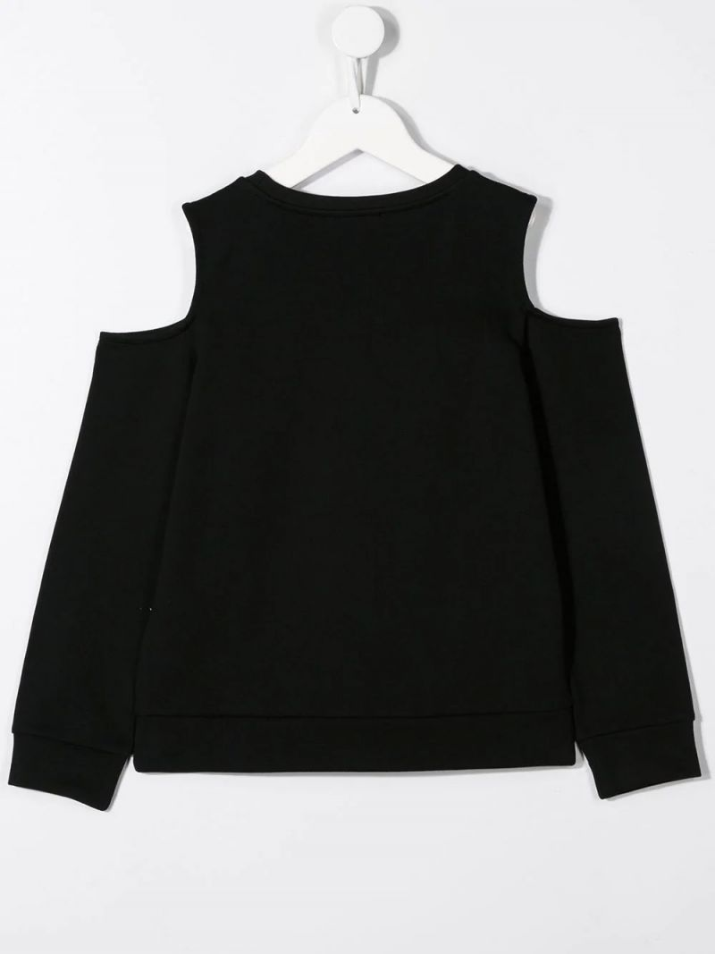 BALMAIN KIDS: cut-out detailed cotton sweatshirt Color Black_2