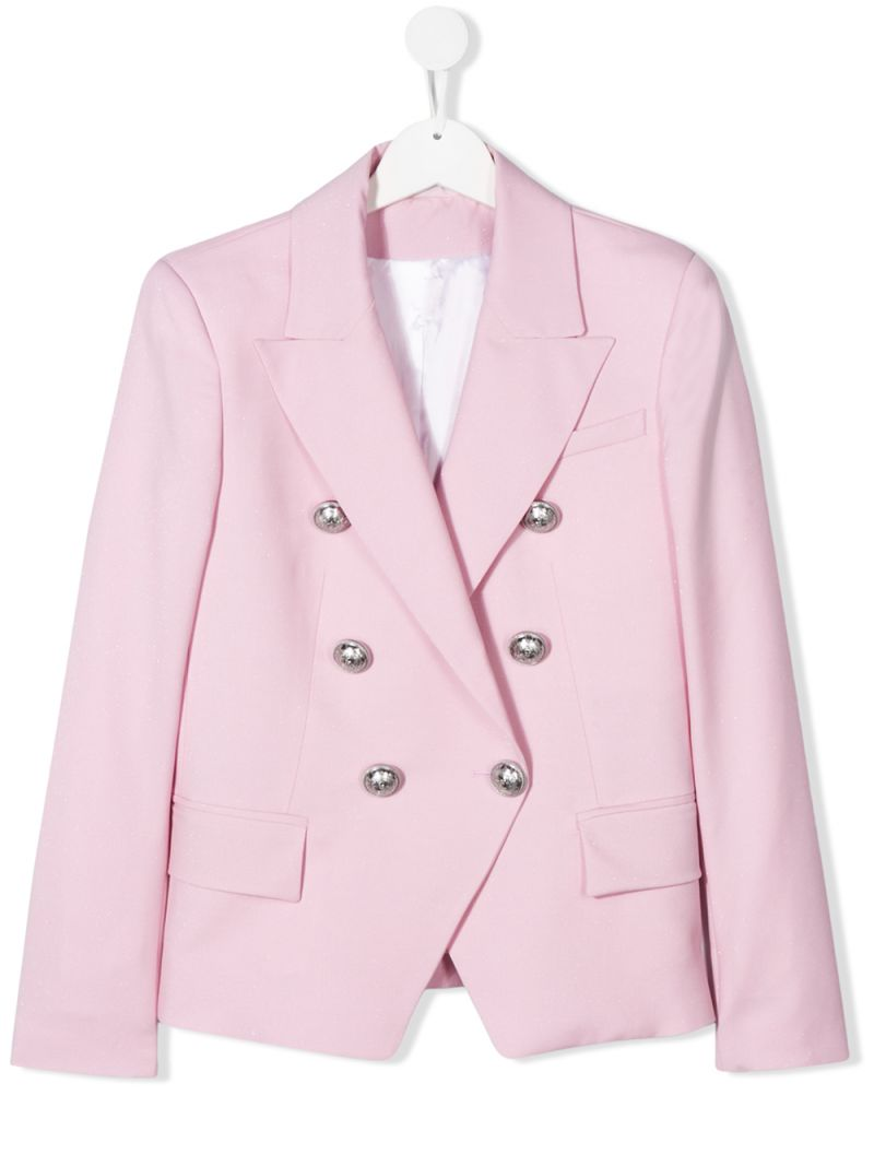 BALMAIN KIDS: wool blend duble-breasted jacket Color Pink_1