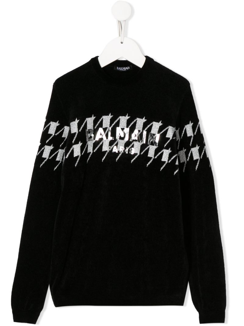 BALMAIN KIDS: logo print cotton blend pullover Color Black_1