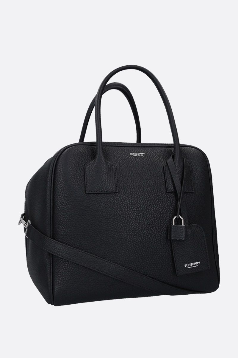 BURBERRY: Cube small handbag in grainy leather Color Black_2