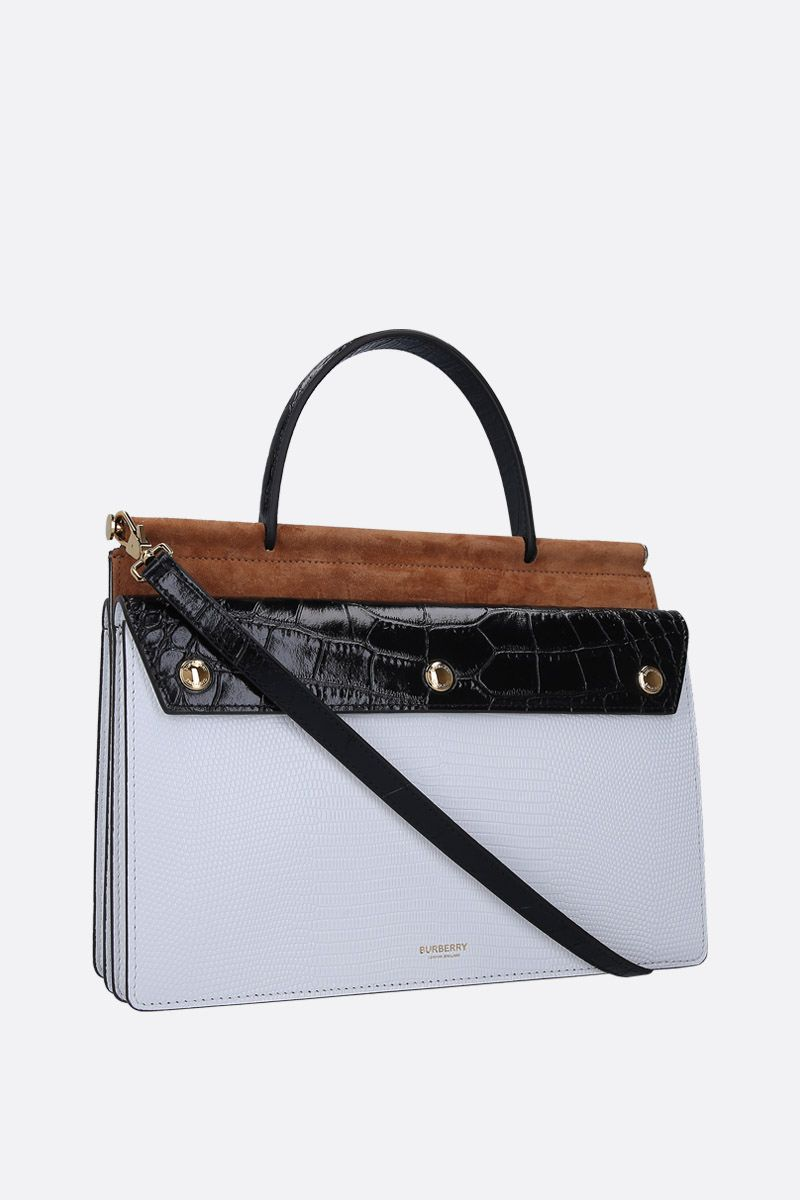 BURBERRY: borsa a mano Title Pocket small in pelle goffrata Colore Bianco_2