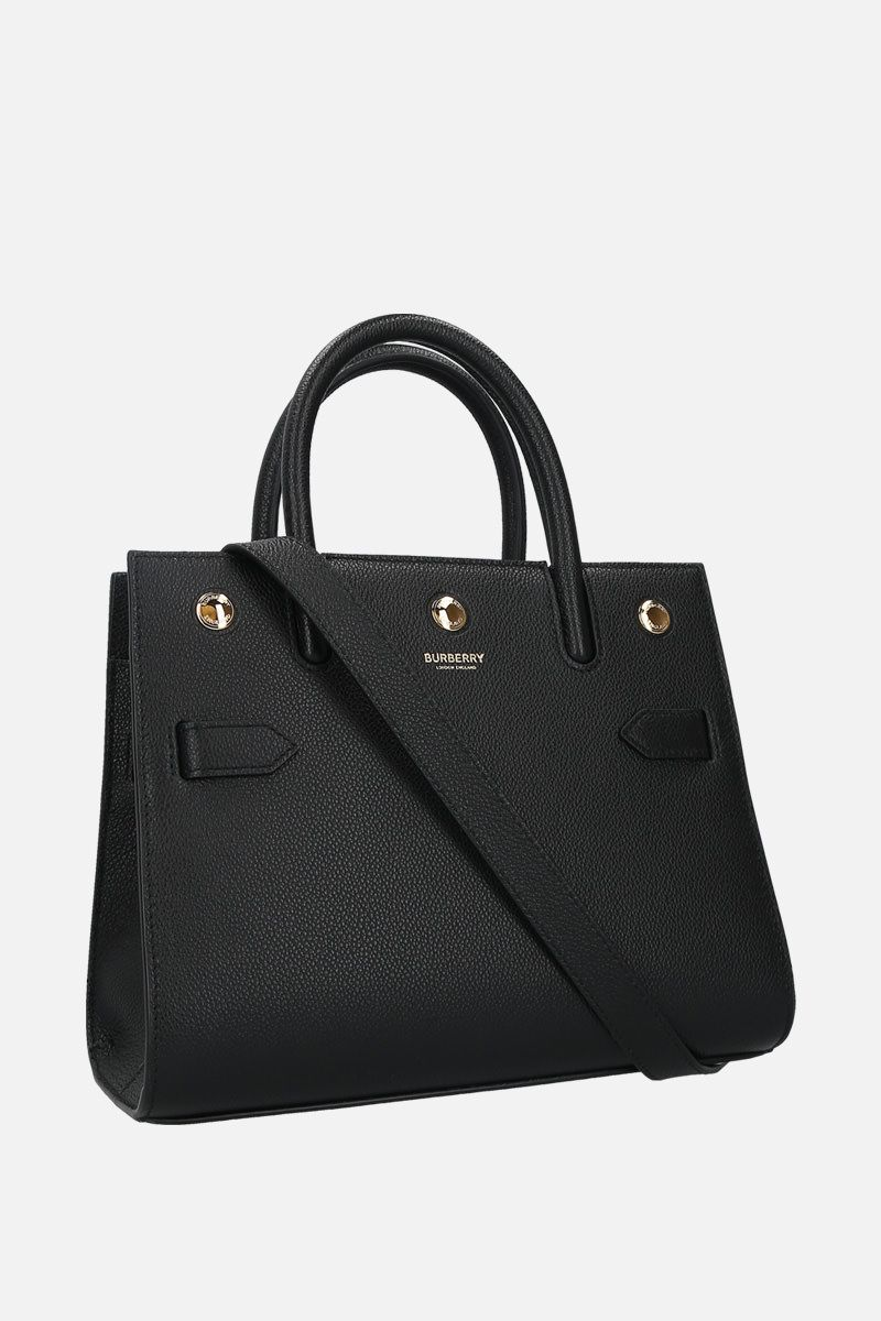 BURBERRY: borsa a mano Title small in pelle martellata Colore Nero_2