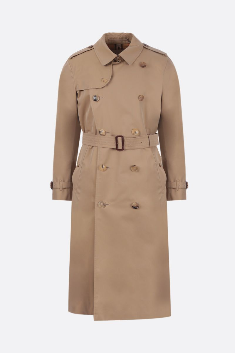 BURBERRY: Kensington Long gabardine double-breasted trench coat Color Yellow_1