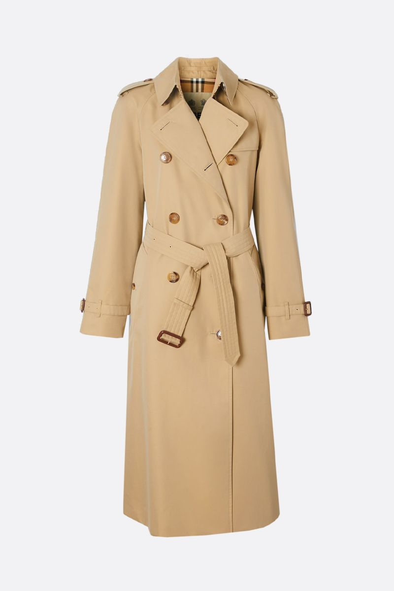 BURBERRY: The Waterloo cotton long double-breasted trench coat Color Yellow_1