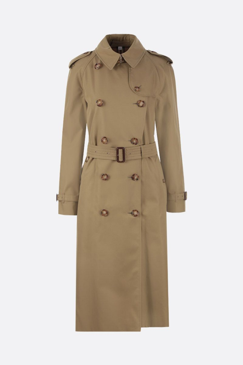 BURBERRY: Waterloo trench coat in gabardine Color Green_1