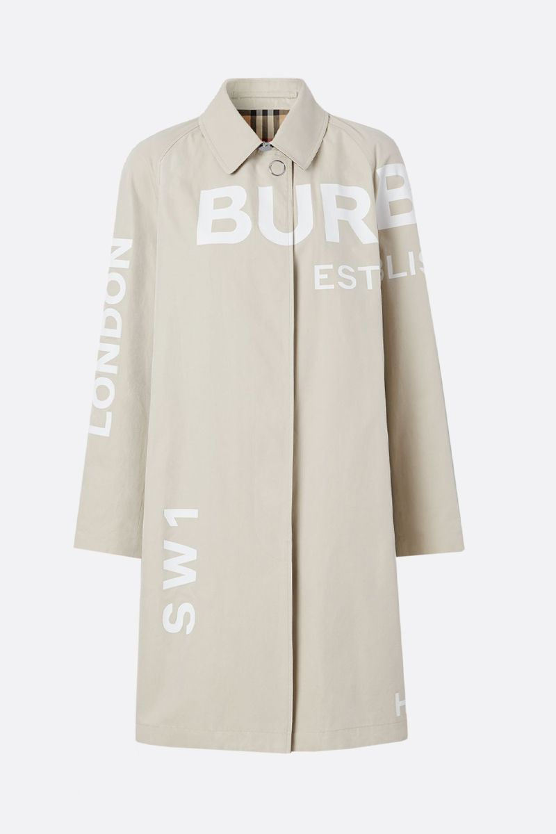 BURBERRY: Horseferry print cotton single-breasted overcoat_1
