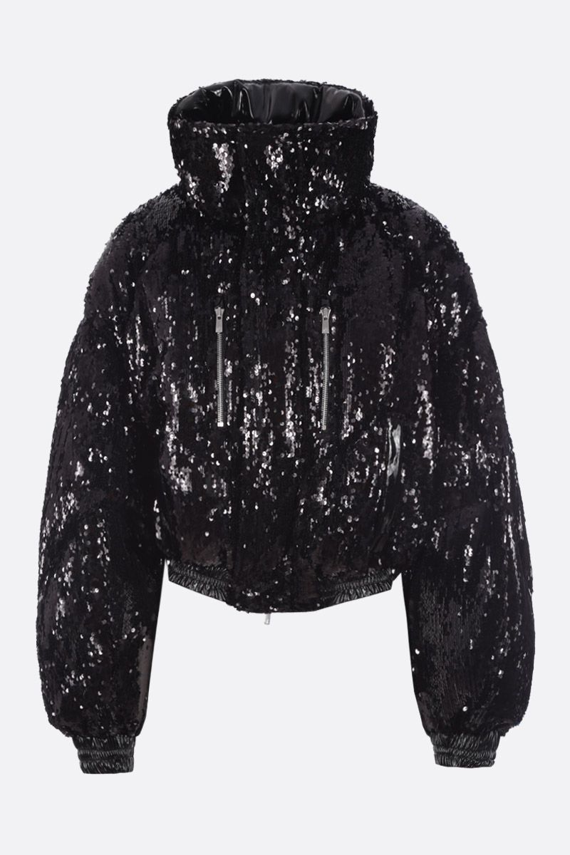 CHEN PENG: oversized short down jacket in sequinned fabric Color Black_1