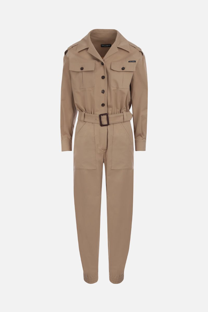DOLCE & GABBANA: stretch cotton safari jumpsuit Color Brown_1