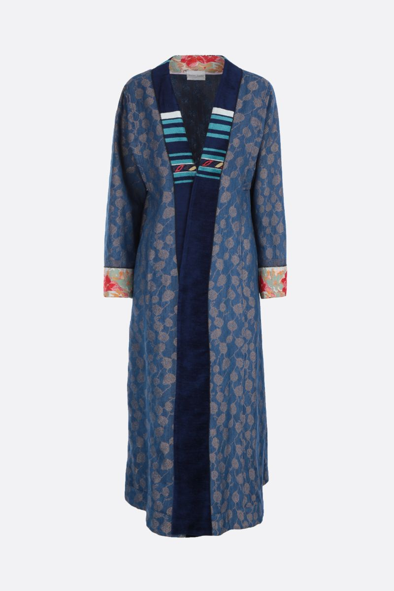 FORTE FORTE: jacquard denim overcoat Color Blue_1