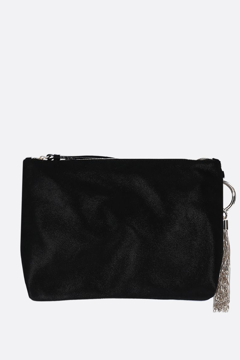 JIMMY CHOO: Callie handbag in shimmer suede Color Black_4