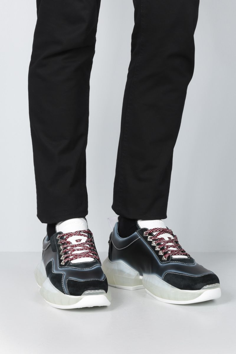 JIMMY CHOO: Diamond/M smooth leather and suede sneakers Color Black_2