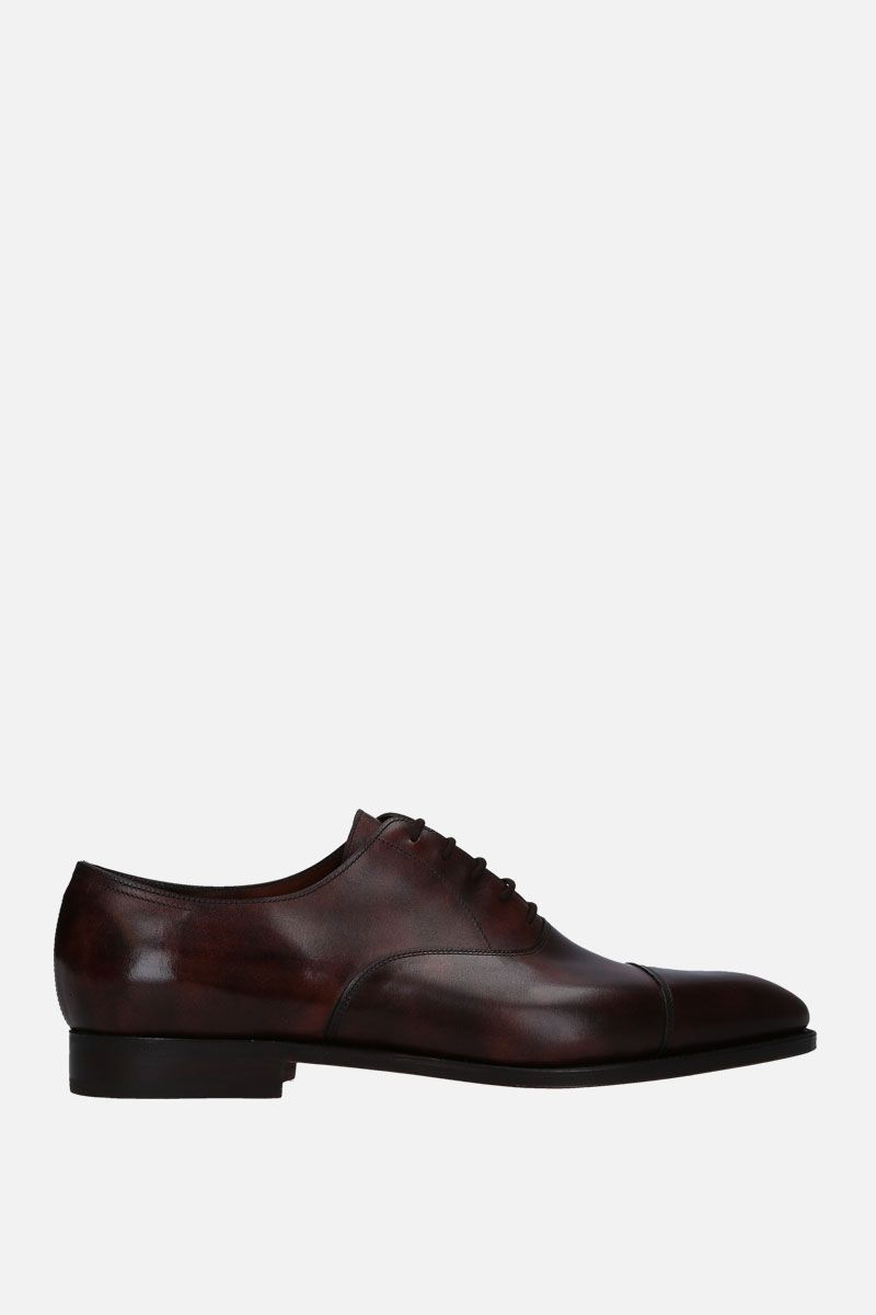 JOHN LOBB: City II oxford shoes in Museum leather Color Brown