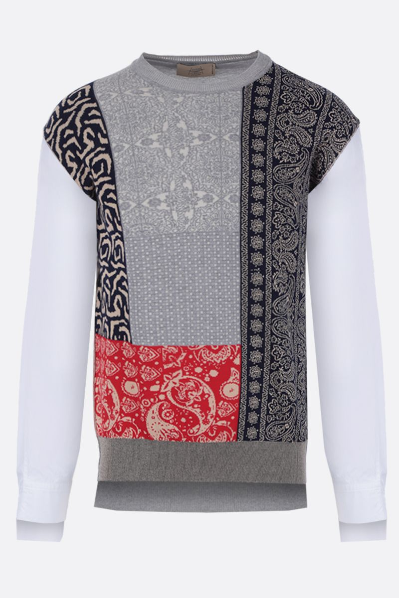 MAISON FLANEUR: cotton jacquard pullover with contrast sleeves Color Multicolor_1