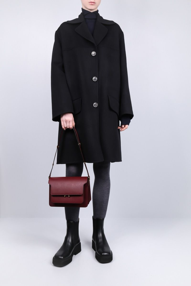MARNI: Trunk medium shoulder bag in saffiano leather Color Red_2