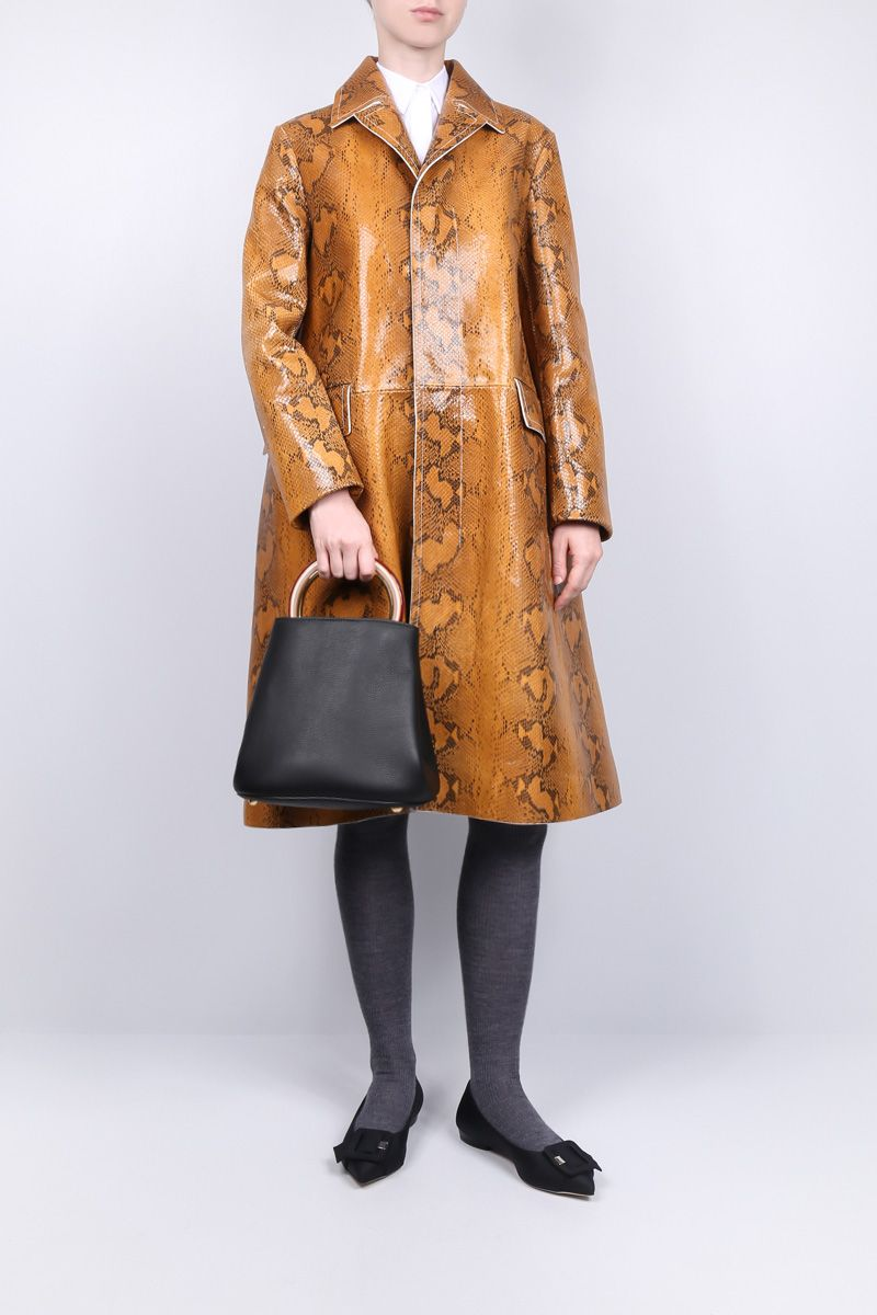 MARNI: single-breasted coat in python nappa leather Color Yellow_2
