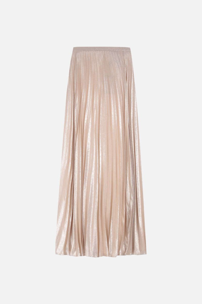 MAX MARA: Pacato georgette pleated skirt Color Gold_1