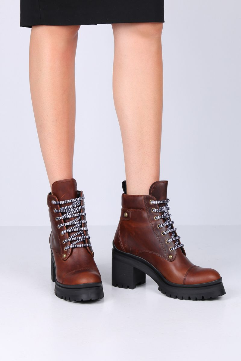 MIU MIU: rubberized leather lace-up booties Color Brown_2