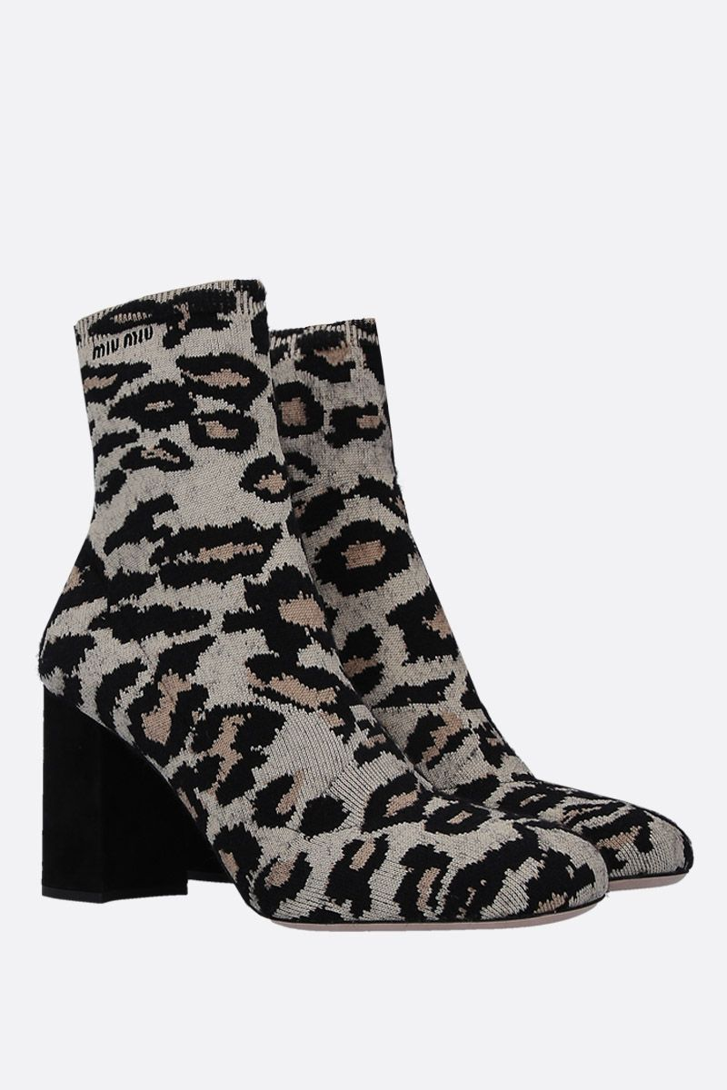 MIU MIU: leopard stretch knit ankle boots Color Yellow_2