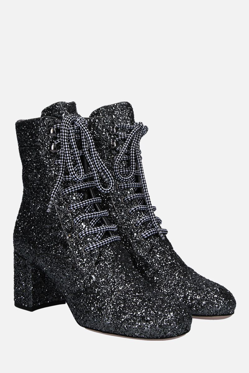 MIU MIU: glitter lace-up booties Color Grey_2