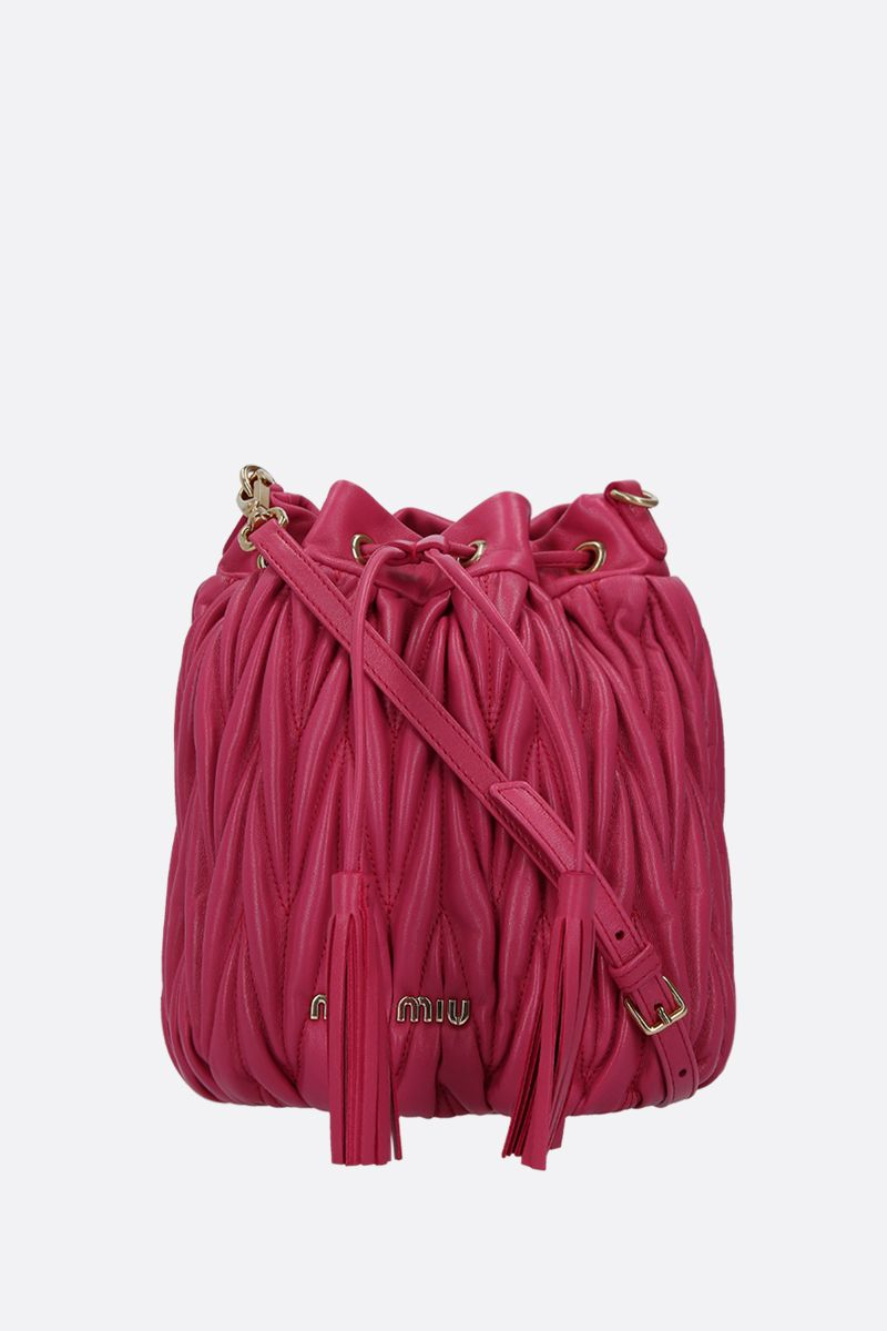 MIU MIU: quilted nappa leather bucket bag Color Red_1