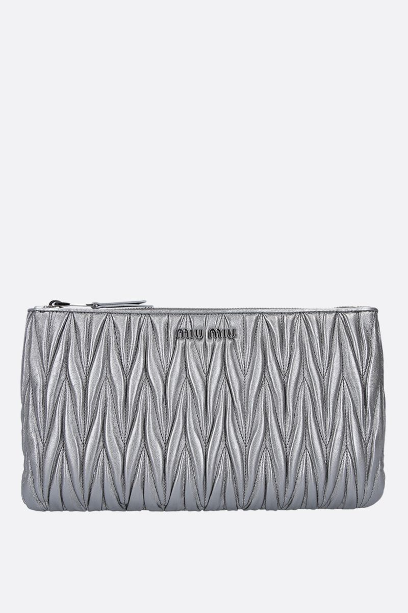 MIU MIU: quilted nappa clutch Color Grey_1